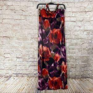 Belle du Jour Floral tube beaded halter dress smal